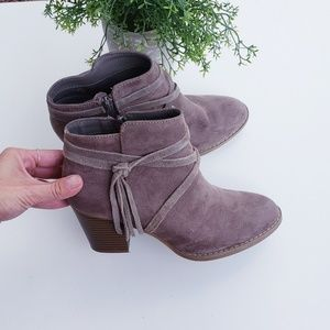 Express taupe tassel ankle booties